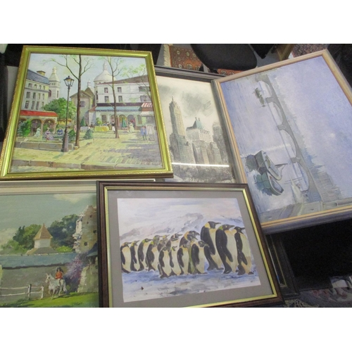 15 - Mixed pictures to include Bert Pugh - two oil paintings entitled 'By the Sacre Coeur' and another de...
