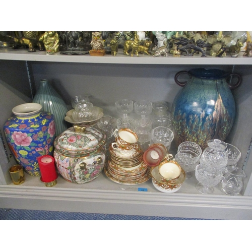 22 - A mixed lot to include a Royal Albert tea service, glassware to include Stuart, a large twin handled...