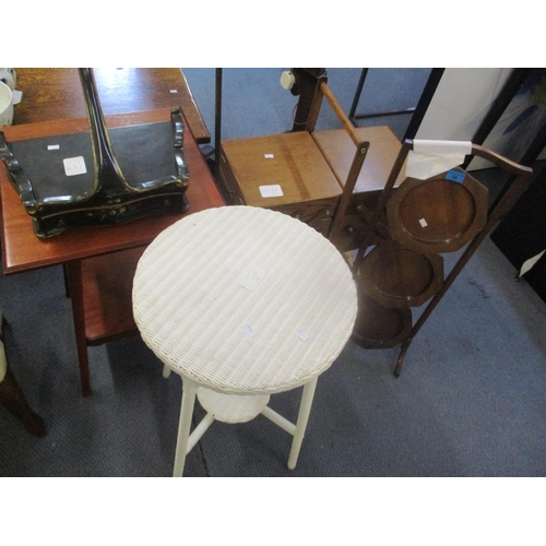 24 - A mixed lot to include a cake stand, a sewing box, a Lloyd Loom table, wall bracket, an occasional t...