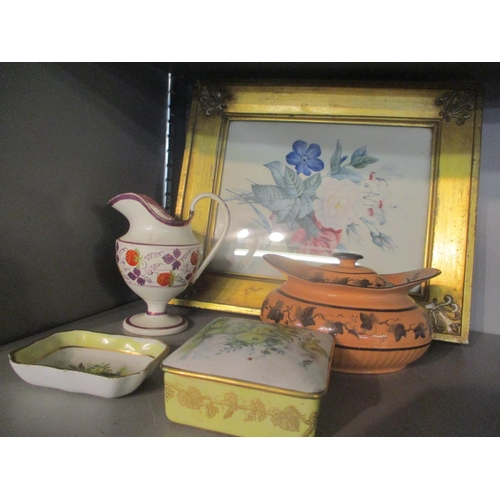 28 - A mixed lot to include a 19th century still life watercolour and 19th century and later ceramics to ...