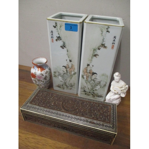 3 - Chinese, Japanese and other artefacts to include a pair of square vases, carved box and other blanc ...