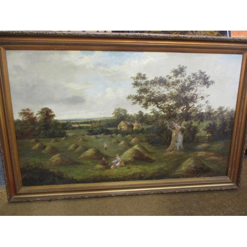 41 - W Yates - Haymaking, an oil on canvas A/F, 30