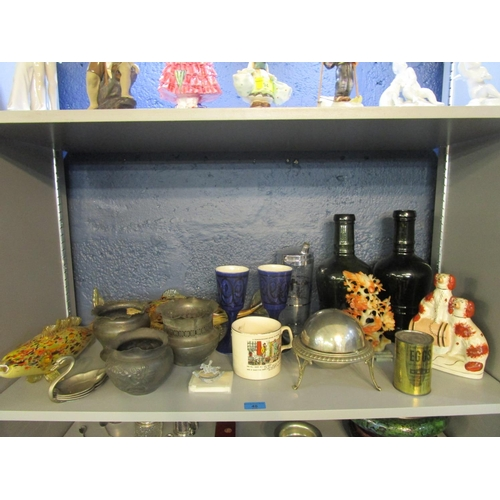 48 - A mixed lot to include a Chinese carved soapstone bird ornament, an American European Recovery Tin o...