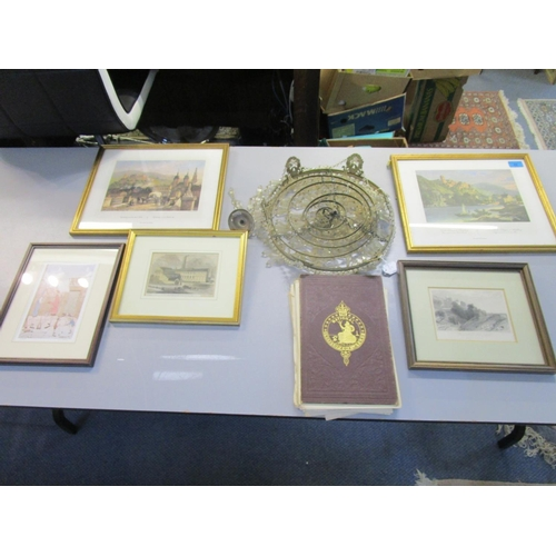 49 - A lot to include gilt metal and glass bag light, various framed and glazed prints and The National E...