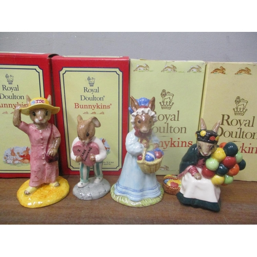 5 - Four boxed Royal Doulton Bunnykins ornaments to include Sightseer, Sweetheart, Mrs and Balloon Selle...