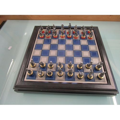 50 - Franklin Mint Battle of Waterloo pewter chess set and board Location: BWR...