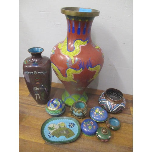 58 - A selection of 20th century cloisonne items to include a vase decorated with Egyptian scenes Locatio...