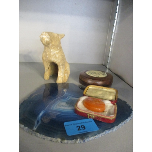 29 - A small mixed lot to include an Egyptian antique model of a dog Location: 9:3...