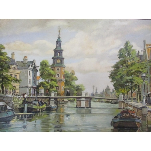 16 - Bert Pugh - oil on canvas entitled 'Canal Scene Amsterdam' 23 1/2