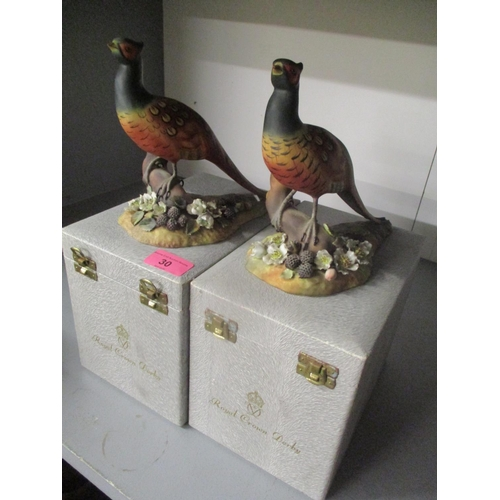 30 - Two boxed Royal Crown Derby Pheasant models, signed K Wood and C Komarnicki Location: G...