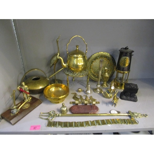 47 - A selection of brassware to include an Eccles miner's lamp No.349, along with a silver pepper pot Lo...