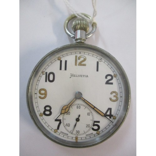 25 - An early 20th century Helveta nickel cased, keyless wound pocket watch. The white enamel dial having...