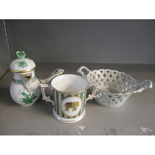 53 - Two pieces of Herend to include a pierced basket with twin handles together with a Crown Derby Thoma...