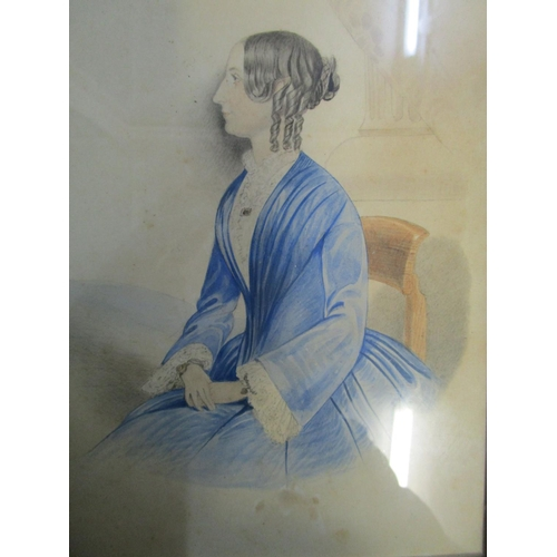 46 - An early 19th century Georgian watercolour portrait of a seated lady, unsigned 8 3/4