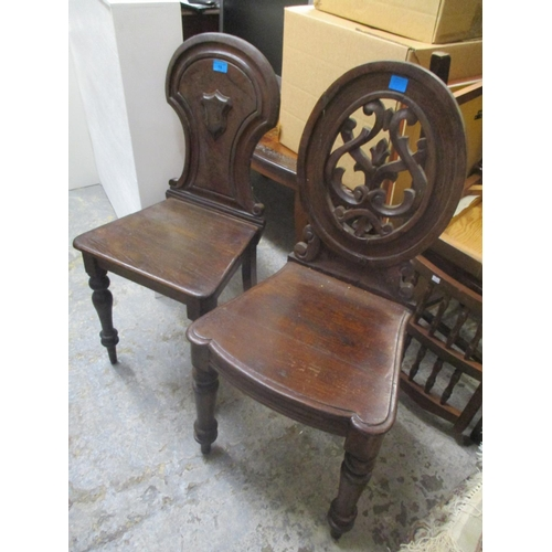 15 - Two 19th century oak hall chairs Location: C...