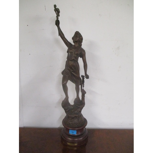 19 - A 19th century French spelter figure with a plaque inscribed L'Industrie, 27