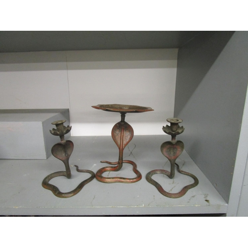 37 - An Indian brass set of snake candlesticks and comport Location: RAF...