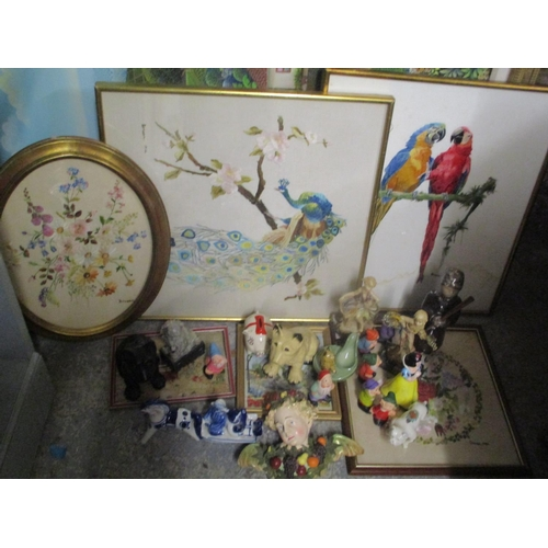 4 - A mixed lot to include mixed figures, crested dog ornament and mixed framed tapestries Location: G...