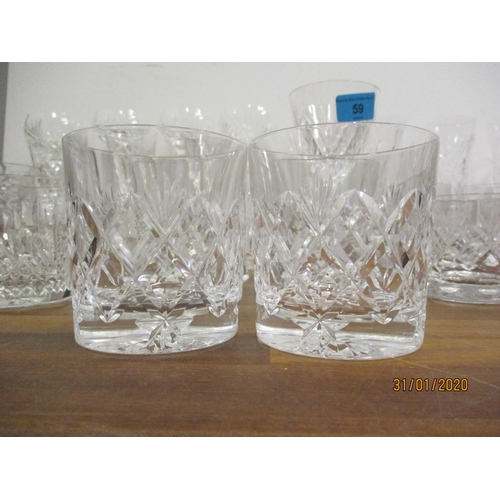 59 - A quantity of good quality Irish crystal tumblers, hock and wine glasses and other glasses to includ...