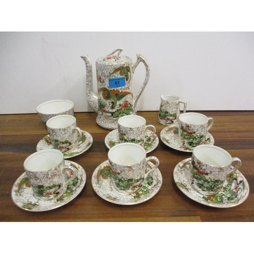 61 - A Phoenix ware, Thomas Forrester & Sons, six setting coffee service depicting oriental scenes (sugar...