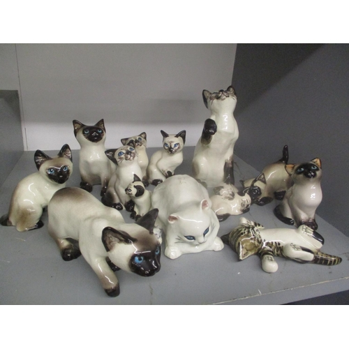 8 - A selection of Seneshall cat ornaments, together with three Kensington cat ornaments designed by Win...