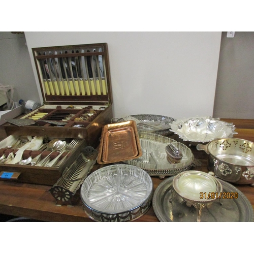 84 - Silver plate to include a part canteen of Old English and other flatware and other silver plated tab...