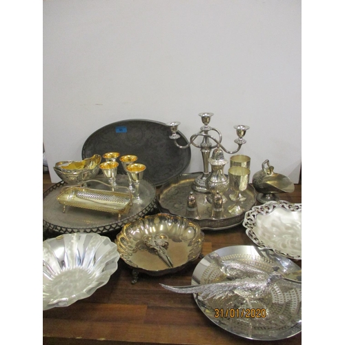 85 - Silver plated tableware to include Mappin & Webb, trays, candelabra, dishes and other items Location...