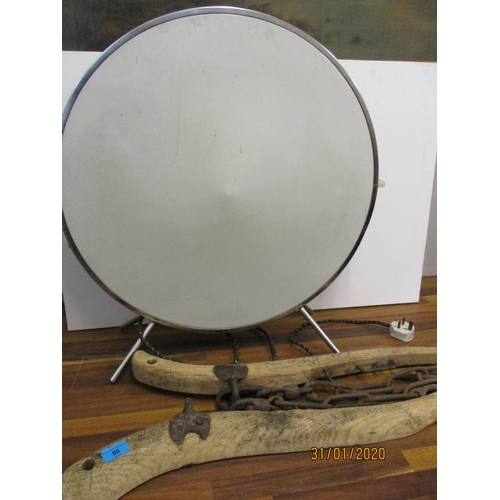 86 - A retro electric drum design fire and a pair of wooden and iron hames Location: LWM...