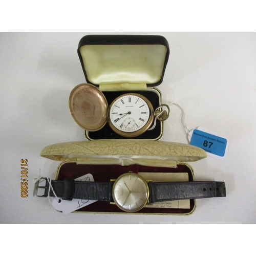 87 - A Bentina Star gents wristwatch together with a Waltham traveller gold plated pocket watch full hunt...
