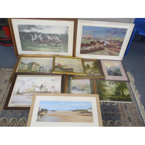 9 - Mixed framed pictures to include A A Denton, oil on canvas depicting sailing boats, oil painting dep...
