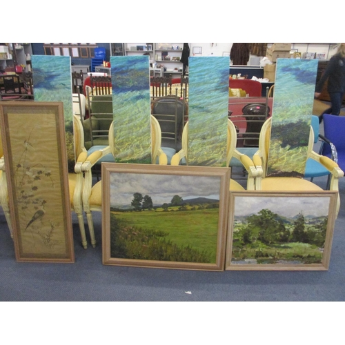 177 - A four sectional contemporary canvas picture, together with two oils on canvas depicting country sce...
