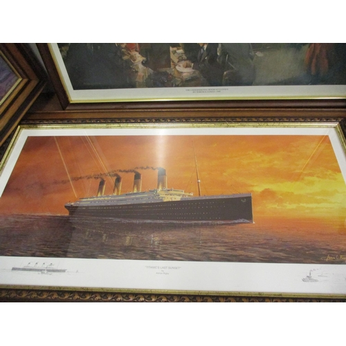 110 - Adrian Rigby - Titanica's Last Sunset, a print, signed lower right hand corner, together with two ot...
