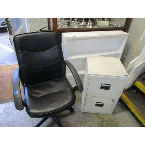 42 - Office furniture to include a swivel chair, two drawer metal filing cabinet, and a white painted ope...