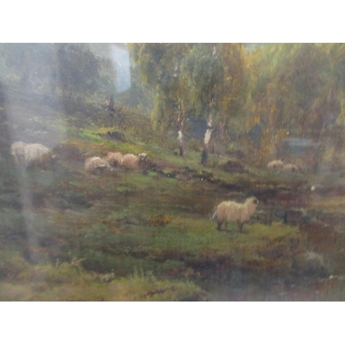 331 - Alfred De Breanski - 'On Loch Lomond', a man fishing, figures in a rowing boat and sheep on the bank...