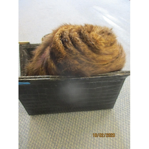 26 - A mink fur wrap together with a vintage black crocodile skin handbag Location: RAM...