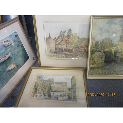137 - Stanley Orchart - The Millhouse by the water, a print, signed lower right border, together with mixe...
