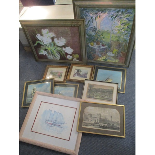 142 - Pictures to include two oils on canvas of still life and others  Location: LWB...