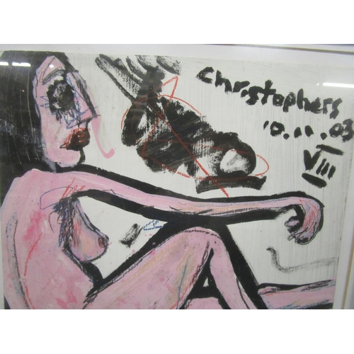100 - Christophers (St Ives) - a nude portrait of a woman signed, dated 10.11.03, top right corner, oil on...