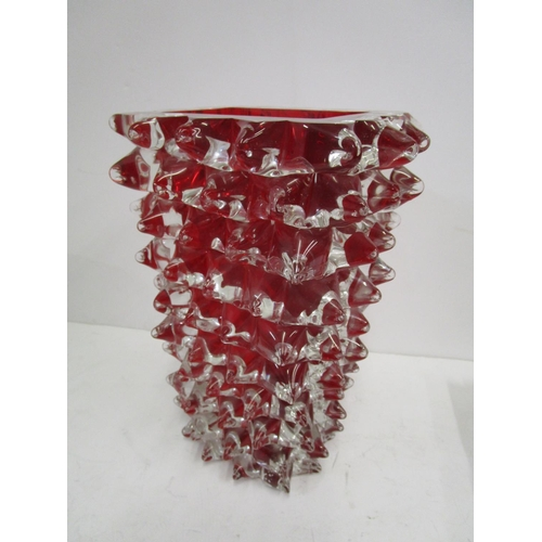 11 - Fornace Milan, Italy - a Rostri vase in red glass overlaid in clear crystal, engraved signature to b...