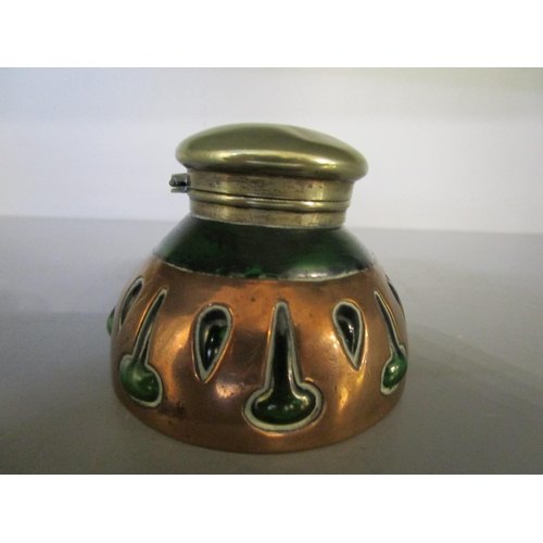 114 - A Cobral Arts & Crafts green glass and copper overlaid ink well with silver plated cap, stamped mark...