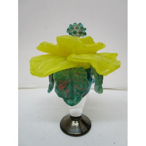 12 - A signed studio Art Glass scent bottle in the form of a flower, the stopper forming the Stigma in th...