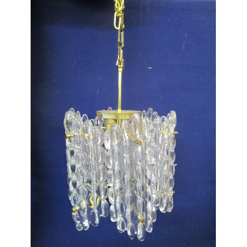 122 - A Carl Fagerlund b1915, Swedish, designed for Orrefors, a glass ceiling light with brass frame, circ...