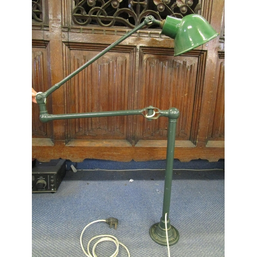 129 - Industrial design - a Dugdills of Stockport patent articulated machinist lamp with green enamelled s...