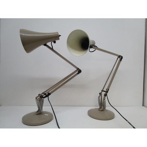 130 - Industrial design - two matching Herbert Terry Apex 90 anglepoise table lamps in light brown colourw...