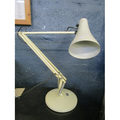 133 - Industrial design - a BHS vintage model 90 anglepoise type lamp, white painted with paper label to b...