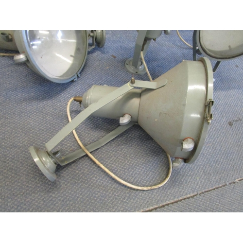 137 - A set of four vintage industrial metal pendant lights, painted in a light blue colour, 17 6/8