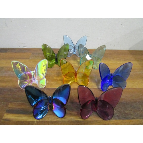 20 - Evelyn Julienne design for Baccarat Crystal - a collection of eight Lucky Butterflies in various col...