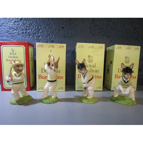 21 - A set of four Royal Doulton Bunnykins Cricketer figures comprising Wicketkeeper Bunnykins DB150, Bat...