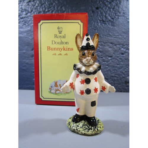 22 - A Royal Doulton Clown Bunnykins figurine, DB129, produced exclusively for UK1 Ceramics Ltd in a spec...