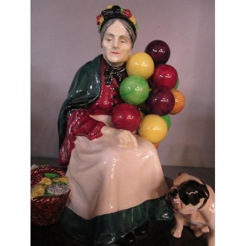 26 - Leslie Harridene for Royal Doulton - Old Balloon Seller with Bulldog mounted on a wooden plinth, HN1...